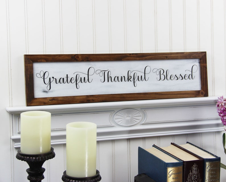 Grateful Thankful Blessed Sign Rustic Fall Decor Farmhouse image 0