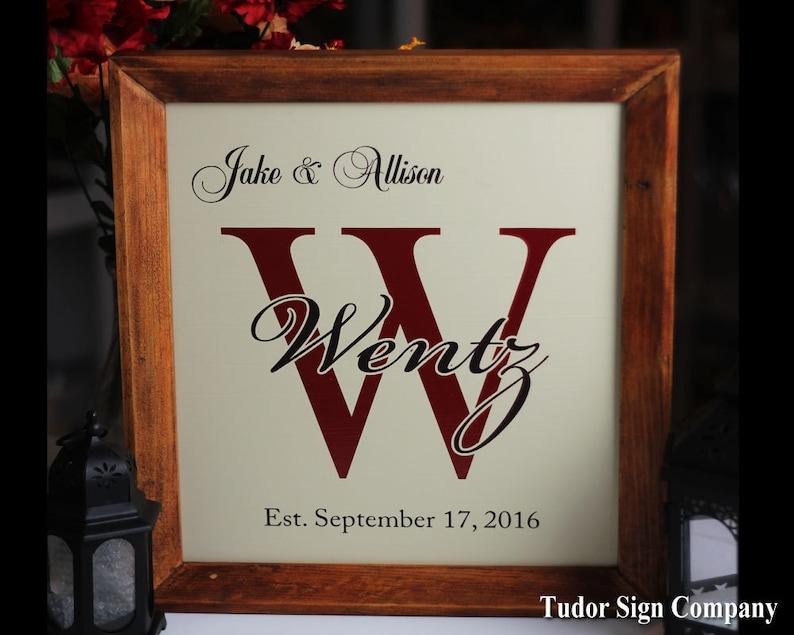 SALE Monogram Sign Family Established Sign Important Date Sign image 0
