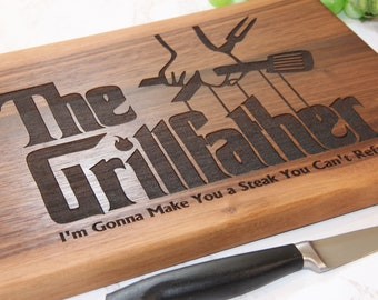 Fathers Day Cutting Board, Personalized BBQ Cutting Board, The Grillfather, BBQ Sign, Fathers Day Gift Dad, Serving Tray, Foodie Gift Men
