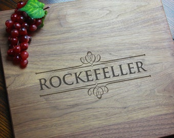 Cutting Board, Personalized Engraved Charcuterie Board, Custom Wedding Gift for Couple, Solid Wood Grazing Board, Laser Etched Serving Board