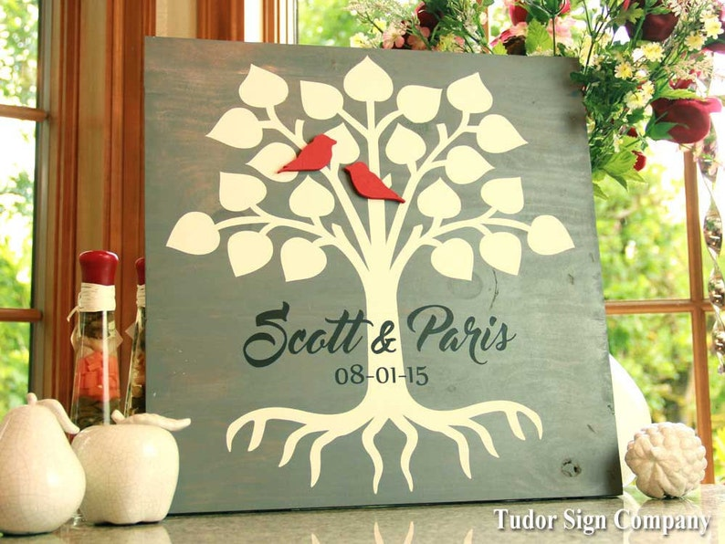 Family Tree Sign Wedding Guest Book Custom Name Sign image 0