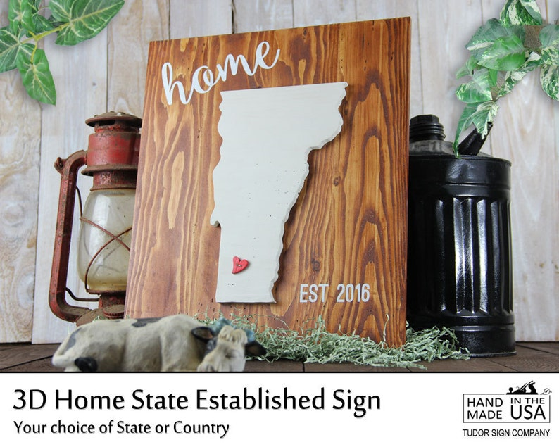 CUSTOM 3D Home State Sign Vermont Family Established Sign image 0