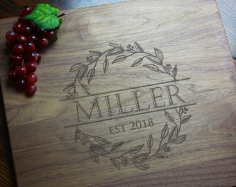 Personalized Cutting Board Gift for Mom, Recipe Cutting Board, Foodie Kitchen Gifts, Wedding, Engagement, Anniversary Engraved Last Name