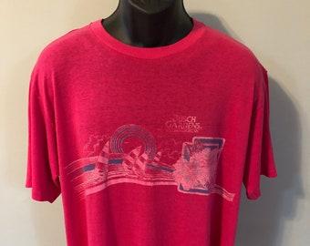 f1d8a01909640c 80s Busch Gardens Theme Park Shirt Vintage Tee Logo Williamsburg Virginia  VA Hibiscus Flower Soft Thin Cotton Blend Made In USA XL