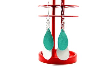 Graphic droplet Earrings: white, blue