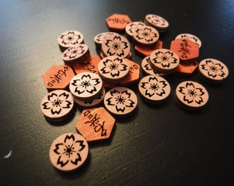 Wood tokens for L5R Legend of the Five Rings