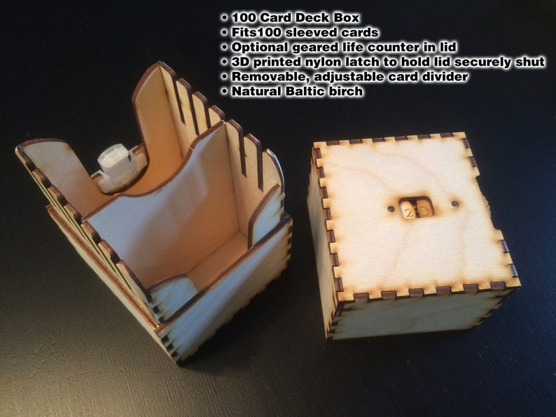 100-card deck box with removable divider and optional built-in image 0