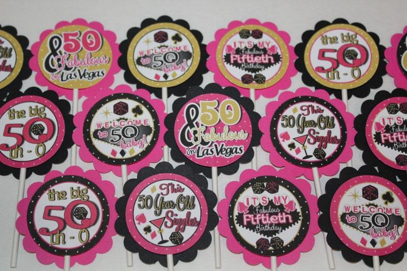 50th Birthday Las Vegas Cupcake Toppers