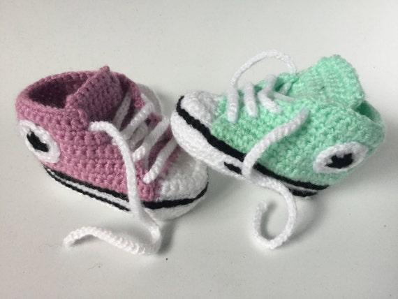 Turnschuhe Baby Converse häkeln, häkeln Baby Schuhe, häkeln Baby Booties, Baby Boy Schuhe für Baby 0 3, 3 6, 6 9, 9 12 Monate