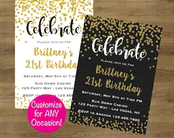Adult Birthday Invitations Party Gold Invitation Invites