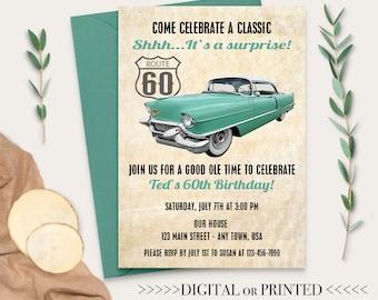 Classic Car Invitation Invite Vintage 60th Birthday For Men 70th 80th