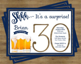 Beer Party Invitation Surprise 30th Birthday For Him Invitations Cheers And Beers To 30 Years