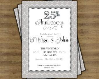 25th Anniversary Invitations Etsy
