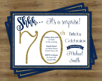 Surprise 70th Birthday Invitation Party Invites