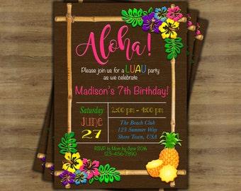 hawaiian invitation etsy