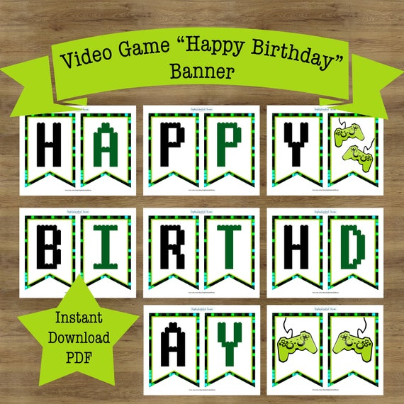 Gamer Birthday Banner Video Game Birthday Banner Video Game Etsy