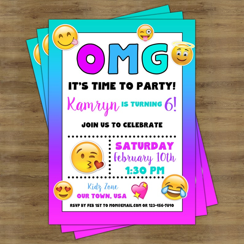 image about Printable Emoji Invitations named Emoji Invites Printable; Emoji Birthday Social gathering Invitation; Emoji Bash Printables; Emoji Birthday Invites; Emoji Invites Woman