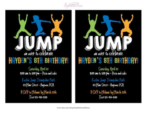 trampoline party invitation jump party invitation trampoline etsy