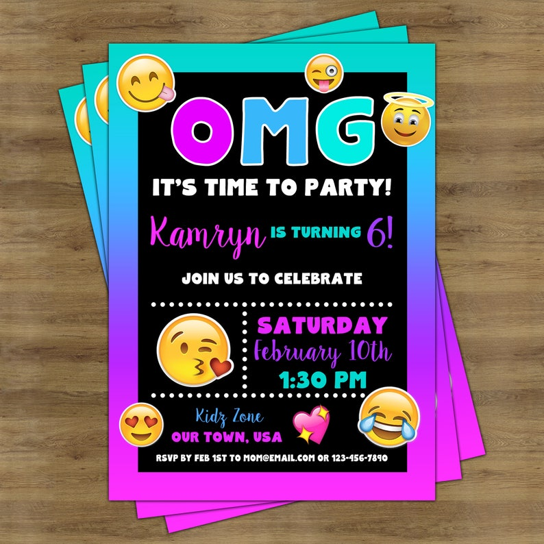 Emoji Invitations Printable Birthday Party Invitation