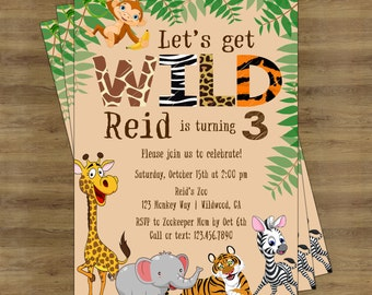 Zoo Birthday Invitation; Safari Birthday Invitation; Jungle Birthday Invitation; Zoo Invitation; Zoo Animal Birthday; Jungle Invitation