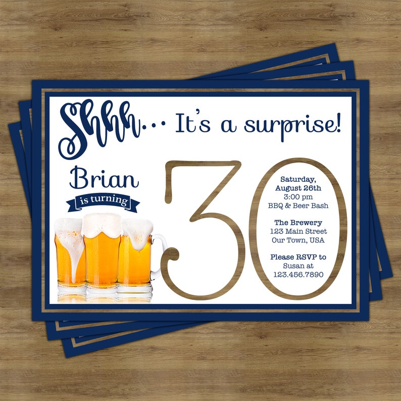 Beer Party Invitation Surprise 30th Birthday For