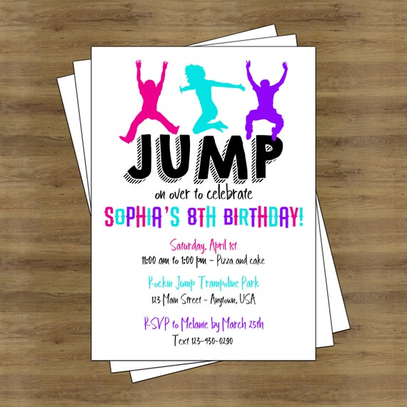 jump party invitation trampoline party invitation trampoline etsy