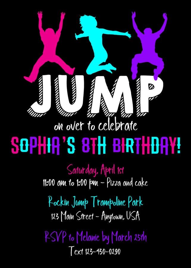 Trampoline Party Invitation Jump Birthday Invitations