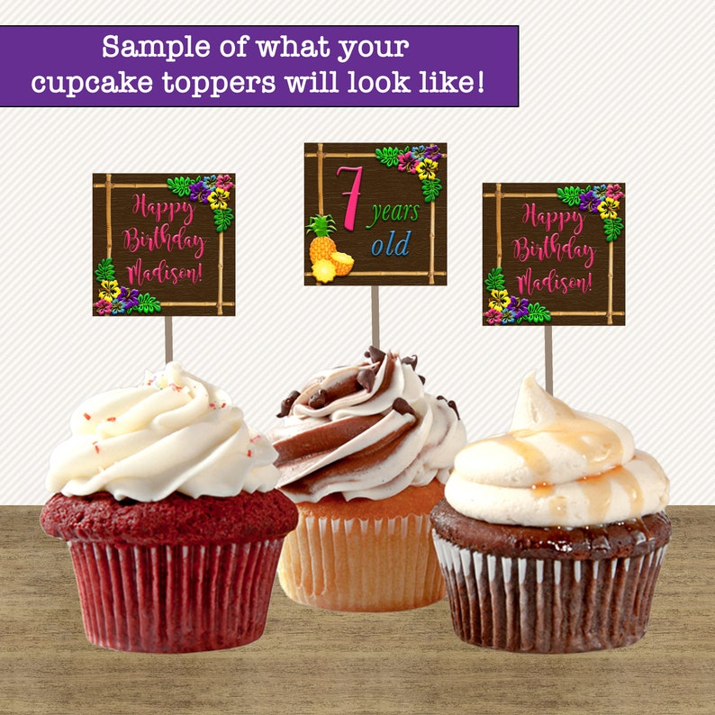 Luau Birthday Cupcake Toppers Party