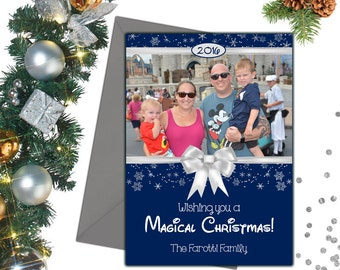 Disney Christmas Card; Magical Christmas Card; Disney Photo Christmas Card; Disney Holiday Card; Blue Christmas Photo Card; Disney Card