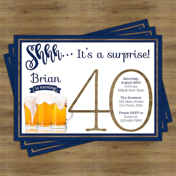 Beer Party Invitation Surprise 40th Birthday For