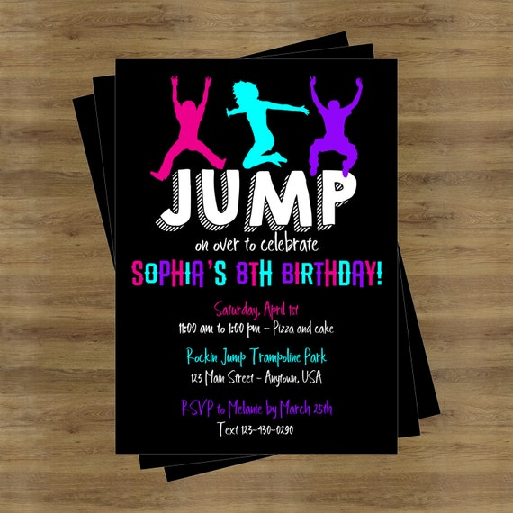 Trampoline Party Invitation Jump