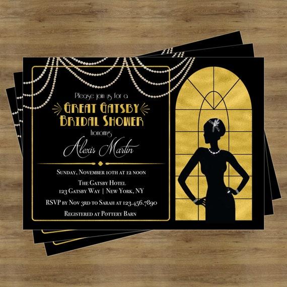 great gatsby invitation gatsby bridal shower invitation etsy