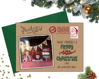 Postkarte-Weihnachtskarte; Foto-Weihnachtskarte; Postkarte-Foto-Weihnachtskarte; Postkarte-Ferien-Karte; Kraft Papier Weihnachtskarte