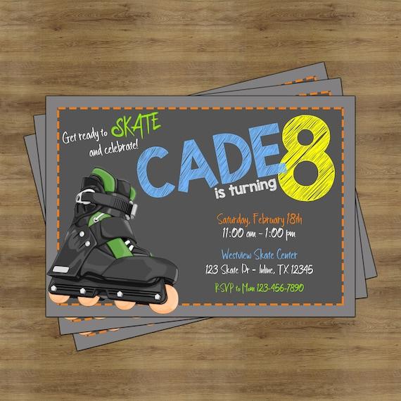 roller skating party invitation roller skating invitation etsy