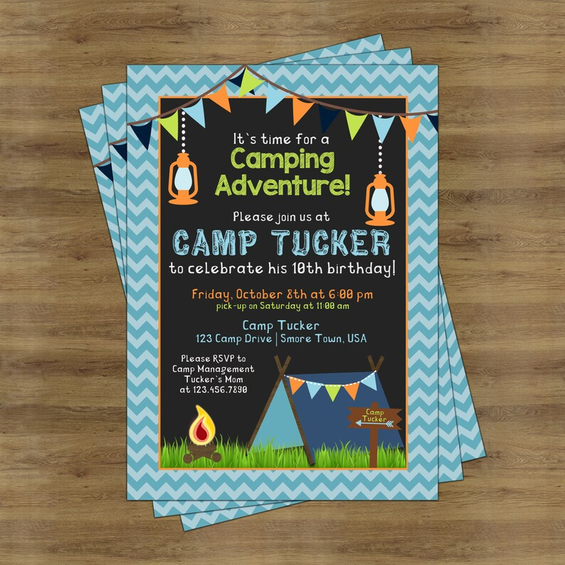 Camping Birthday Invitations Printable Invite Invitation Party For Boys