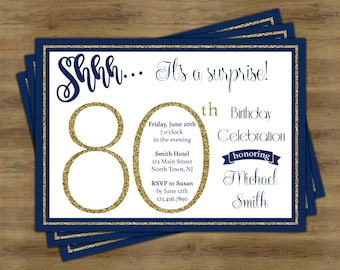 80th birthday invitations etsy best selling items favorite favorited add to added surprise 80th birthday invitation filmwisefo