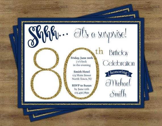 Surprise 80th Birthday Invitation