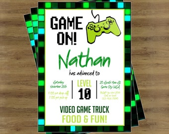 Game Truck Invitation Video Game Party Printables Video Game