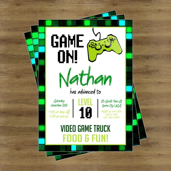 Game Truck Party Video Game Truck Party Invitation Video Etsy