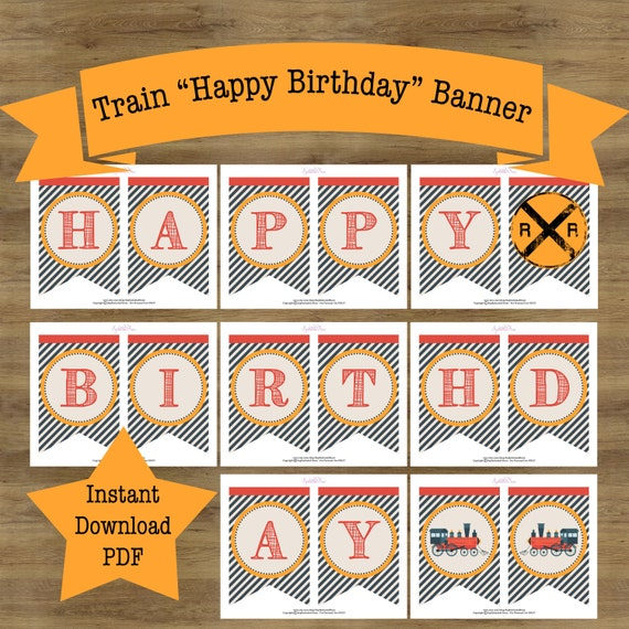 Train Birthday Party Decorations Train Birthday Decorations Train Banner Train Birthday Banner Printable Printable Birthday Banner