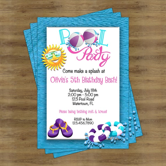 girls pool party invitation girl pool party invite swimming etsy