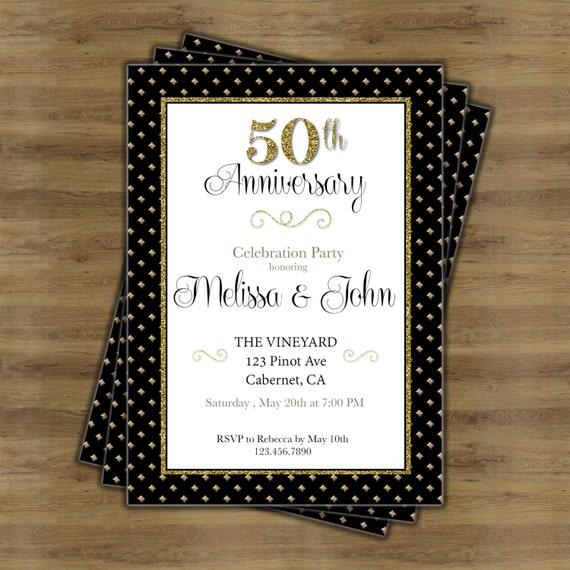 50th Anniversary Invitation 50th Wedding Anniversary Etsy