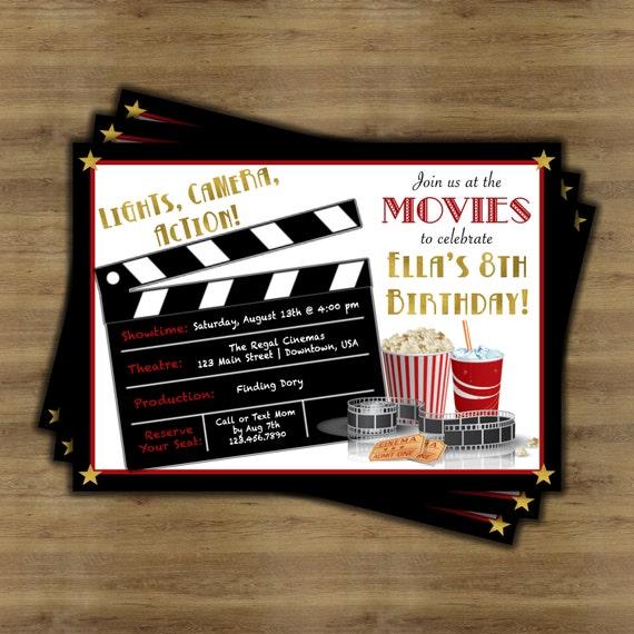 Film-Geburtstags-Einladung Kino-Geburtstags-Einladung | Etsy