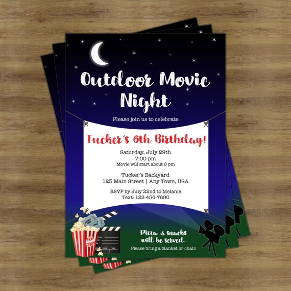 outdoor movie night invitation movie night birthday etsy