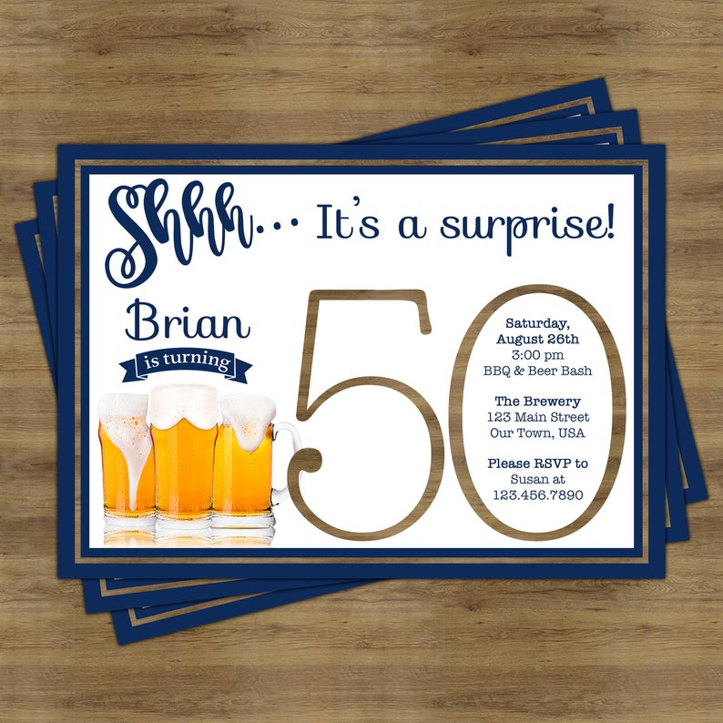 Beer Party Invitation Surprise 50th Birthday For
