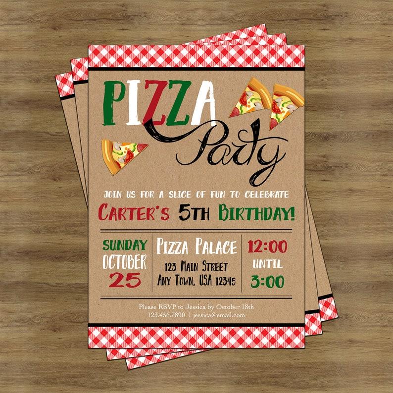 Pizza Party Invitation Pizza Invitation Pizza Birthday Etsy