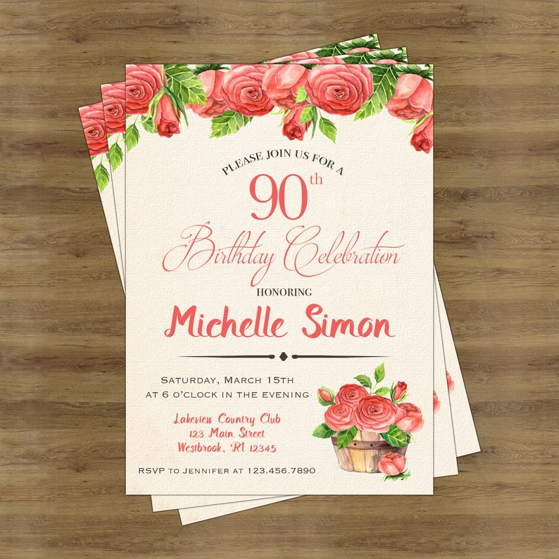 90th Birthday Invitation For Her Invitations