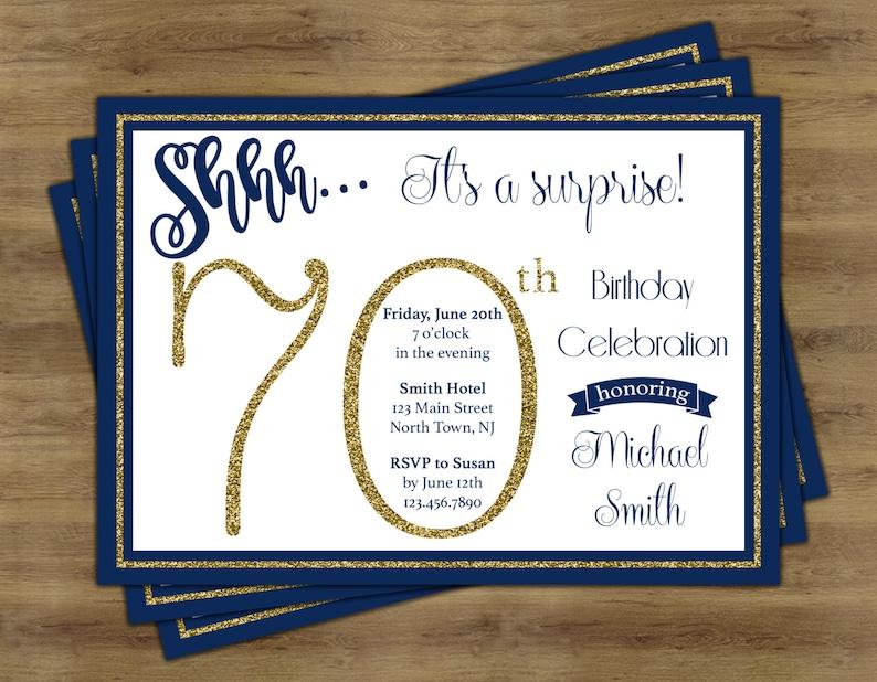 Surprise 70th Birthday Invitation