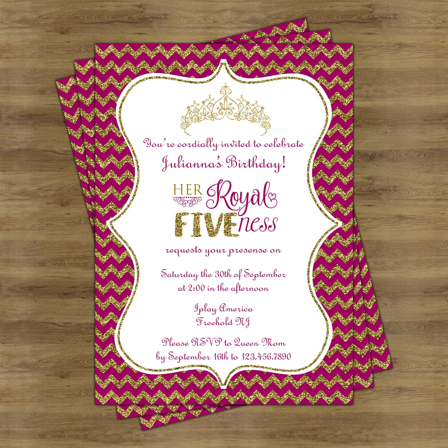 Her Royal Fiveness Birthday Invitation Pink and Gold Birthday | Etsy