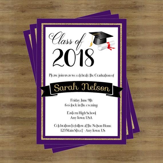 purple graduation invitation class of 2018 high school etsy